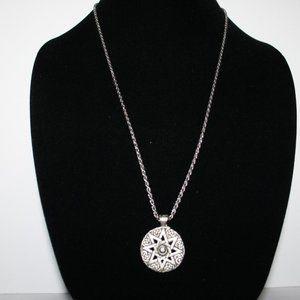 "Vintage silver Celtic sun necklace 27"""